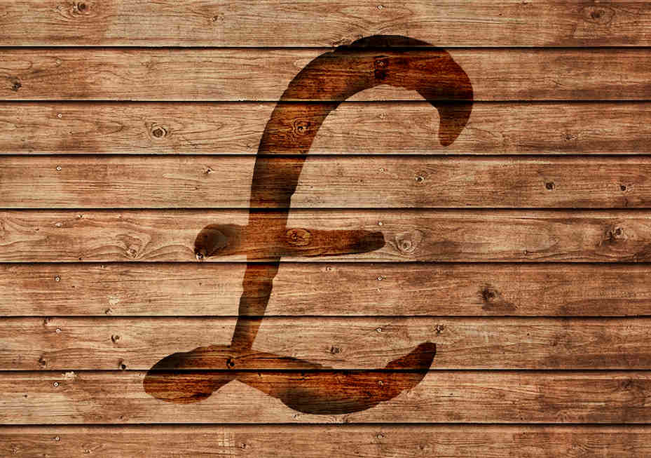 pound sign burned into wood
